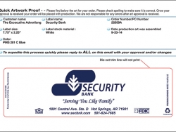 Template for 16.9 oz Bottled Water Label - Security Bank