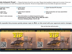 Zip Aviation Custom Bottled Water Label