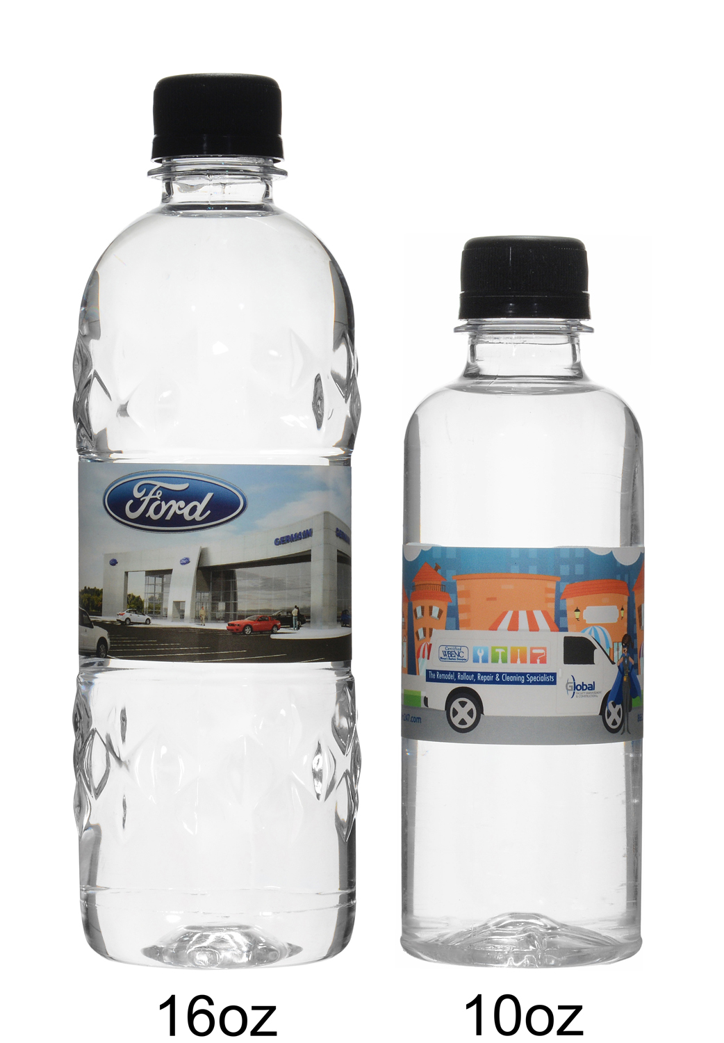 Custom water bottles produced and shipped from Canada.