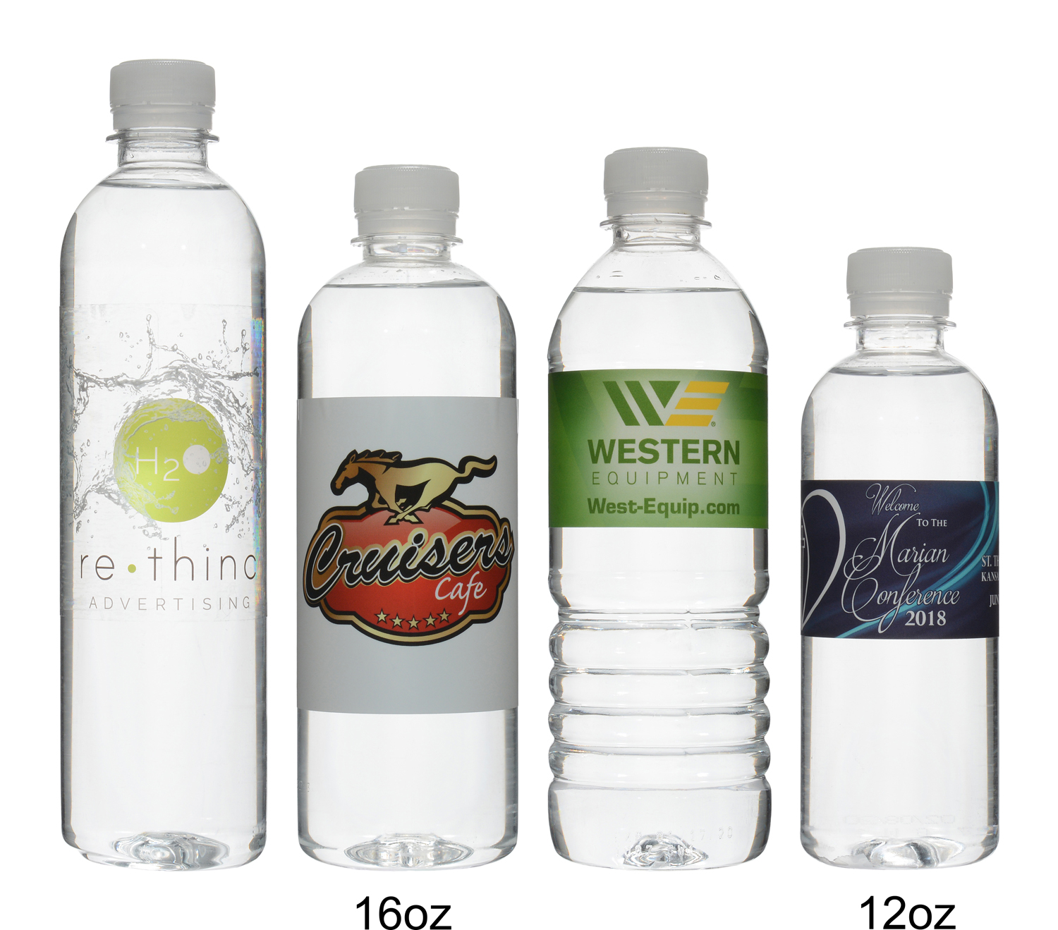 Custom water bottles produced and shipped from California.
