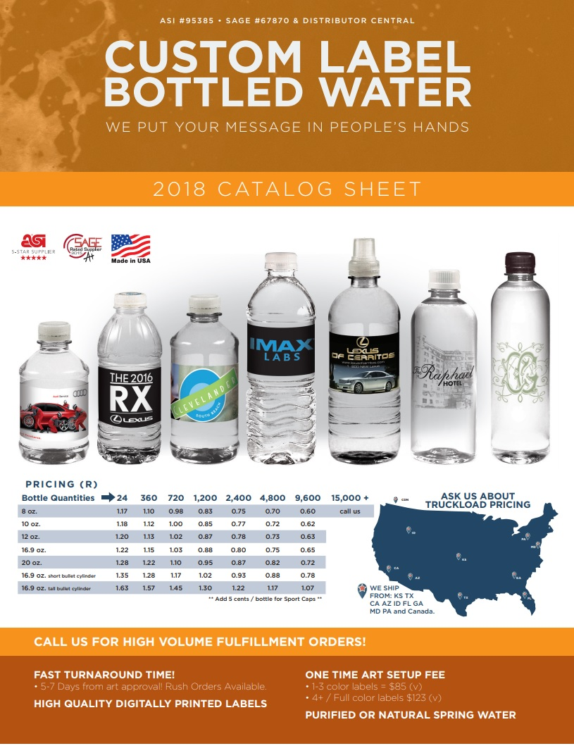 Water Depot Catalog - Custom Bottled Water Pricing